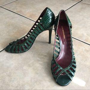 BCBG Maxazria | Green Crocodile Skin Peep Toes